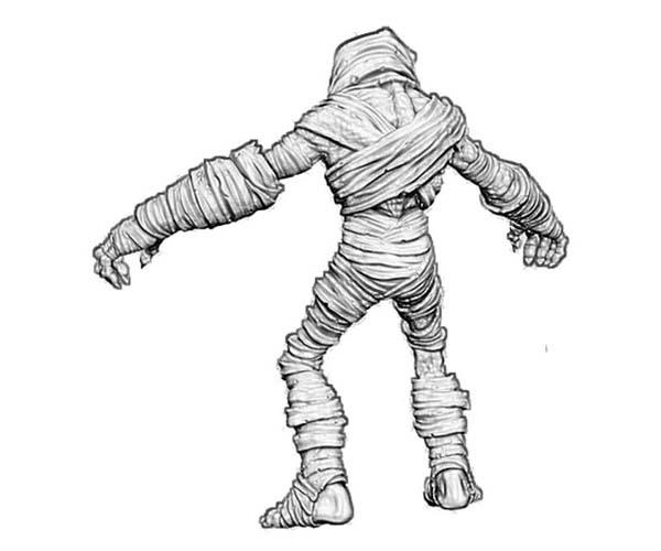 3d mummy model coloring page - Mummy Coloring Sheet