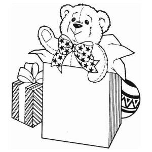 Two Little Bear Celebrating Christmas Coloring Page