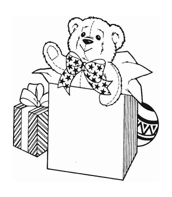 a cute teddy bear for christmas presents coloring page - Christmas Present Coloring Pages