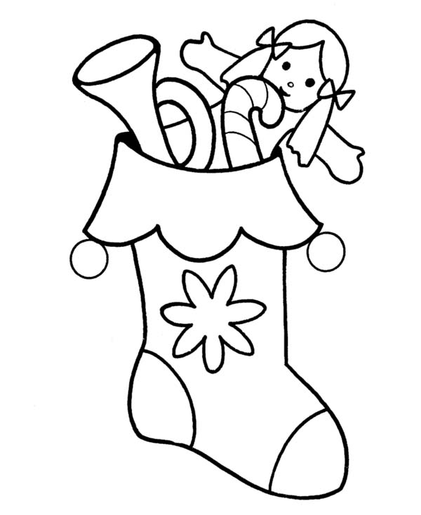 A full packed of christmas stocking coloring page