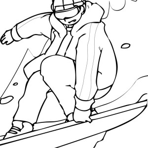A Guy Playing Snowboard on Winter Coloring Page