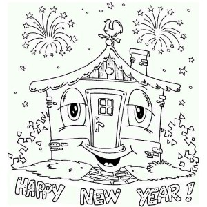 A Happy New Years Party in the House Coloring Page