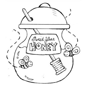 A Jar of Sweet Year Honey for New Years Eve Party Coloring Page