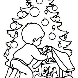 A Kid Playing a Christmas Game Coloring Page