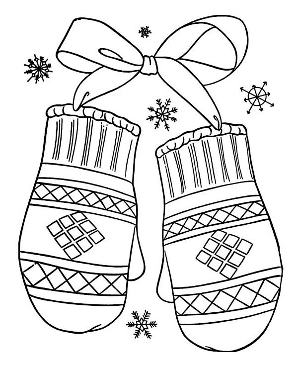 A Lovely Winter Mittens Gift Coloring Page  Download  Print