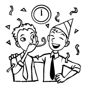 A New Years Eve Party at the Office Coloring Page