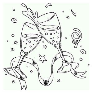 A New Years Toast on the Party Coloring Page