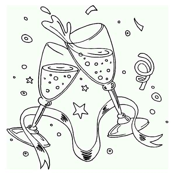 A New Years Toast on the Party Coloring Page A New Years Toast on