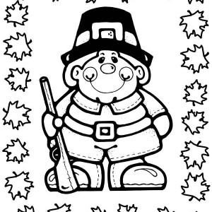 A Pilgrim Hunter on Thanksgiving Day Coloring Page