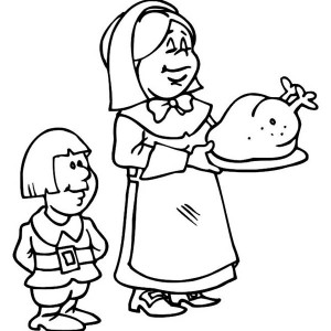 A Pilgrim Lady and Her son Serving Thanksgiving Day Turkey Coloring Page