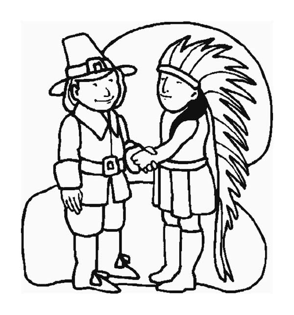 A pilgrim and indian chief shaking hand on thanksgiving for Indian coloring pages for thanksgiving