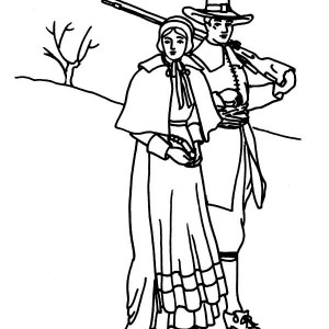 A Pligrim Family Visit on Thanksgiving Day Coloring Page
