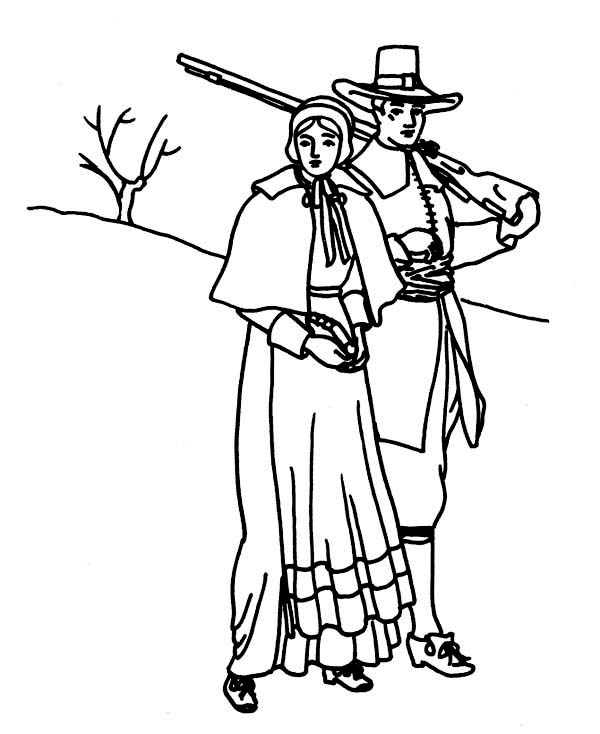 A Pligrim Family Visit on Thanksgiving Day Coloring Page ...