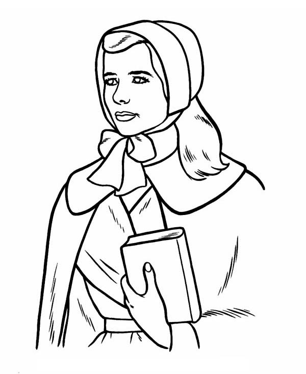 a pligrim women holding holy book on thanksgiving day coloring page - Coloring Pages For Women