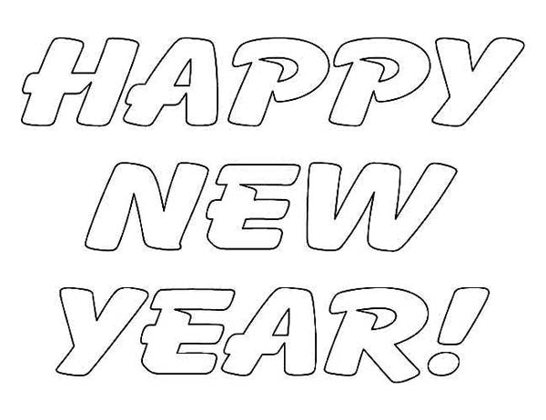A Simple Text of Happy New Year Coloring Page Download Print