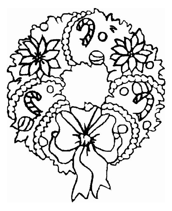 a sweet christmas wreath ornament coloring page - Christmas Ornament Coloring Page