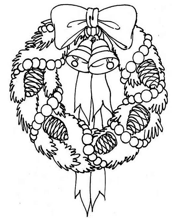 a sweet christmas wreath for hanging decor coloring page - Wreath Coloring Page