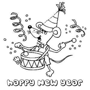 A Sweet Little Mouse Playing Drum on New Years Party Coloring Page