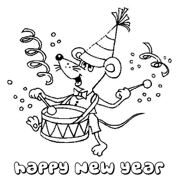 a sweet little mouse playing drum on new years party coloring page - New Years Coloring Pages