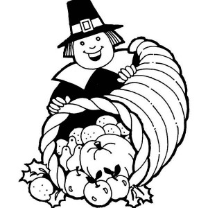 A Whole of Plenty Thanksgiving Day Basket Coloring Page