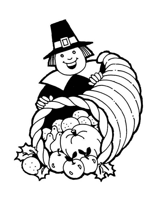 Thanksgiving Day, A Whole of Plenty Thanksgiving Day Basket Coloring Page: A Whole Of Plenty Thanksgiving Day Basket With A Pilgrim Gentlemen Coloring PageFull Size Image