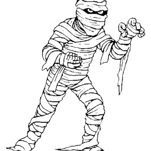 A mummy try to catch you   free coloring page