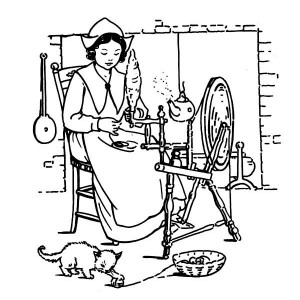 A pligrim Women Making Thanksgiving Day Crafts Coloring Page