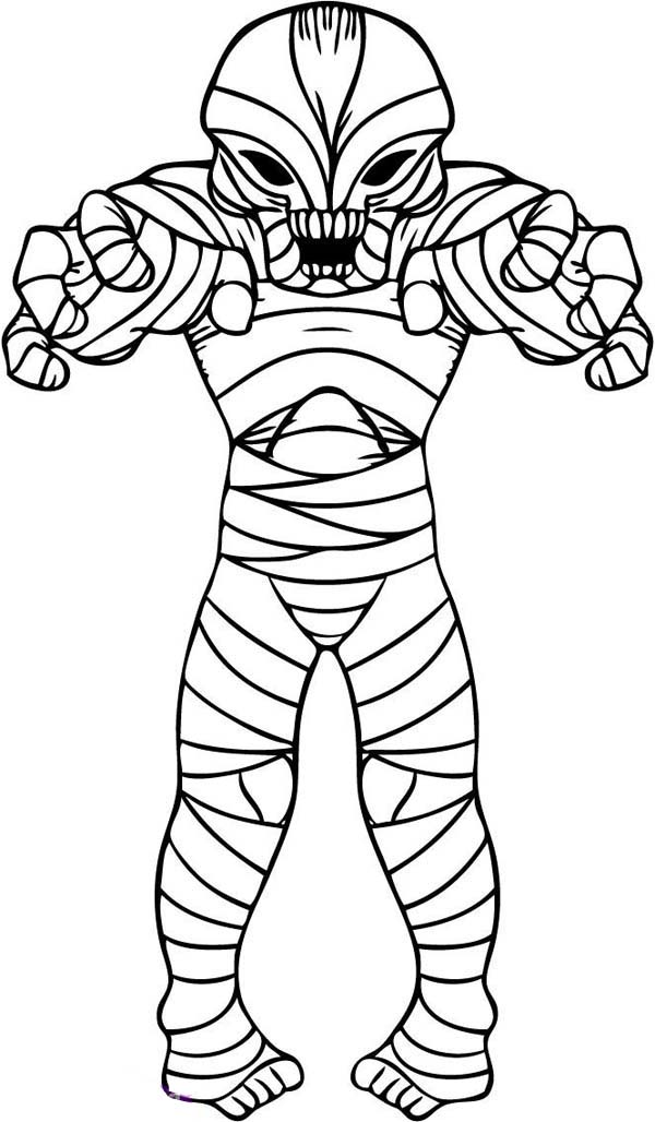 alien style mummy free coloring page