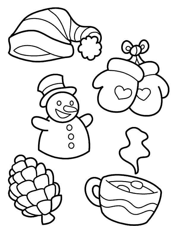 All Kind of Winter Season Symbols Coloring Page Download Print