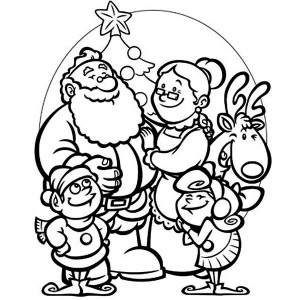 All Members of Santas Family Celebrating Christmas Coloring Page