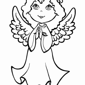 An Angel Making Pray on Christmas Eve Coloring Page