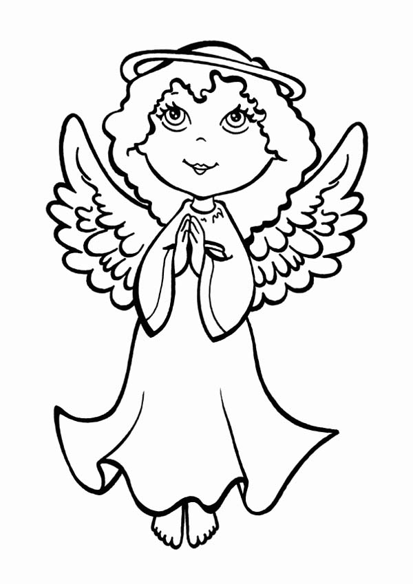 Christmas An Angel Making Pray On Eve Coloring Page