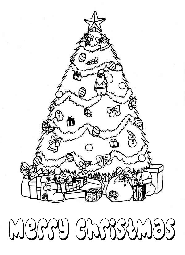 Beautiful Christmas Tree with Bunch of Gifts Coloring Page ...