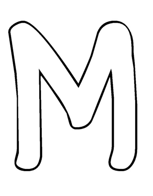 Bubble Letter M Coloring Page