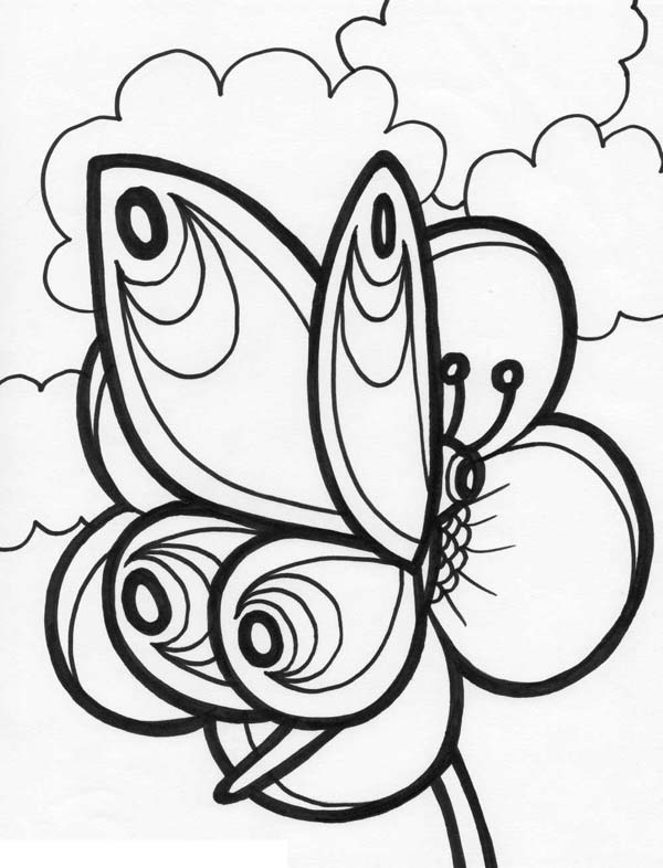 Butterfly And A Clear Sky Coloring Page Download Amp Print
