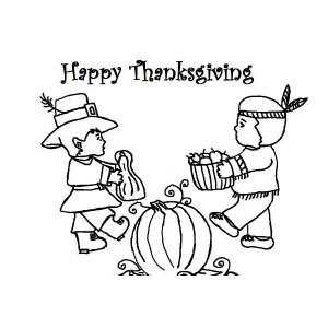 Celebrating Thanksgiving Day by Sharing Foods Coloring Page