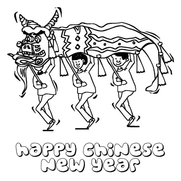 Chinese New Year With Dragon Festival Coloring Page with  Download
