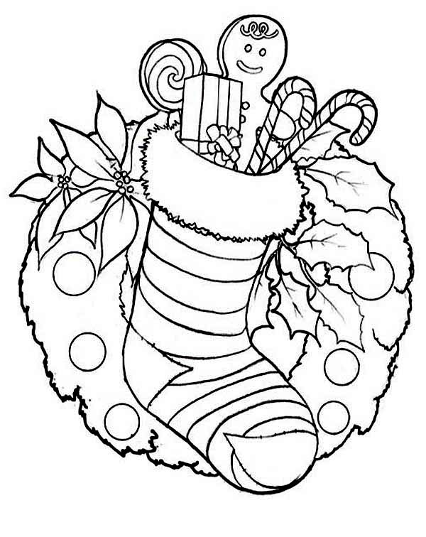 Christmas Stocking and Christmas Wreath for Decoration Coloring Page