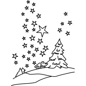 Clear Winter Night Sky with Million of Stars Coloring Page