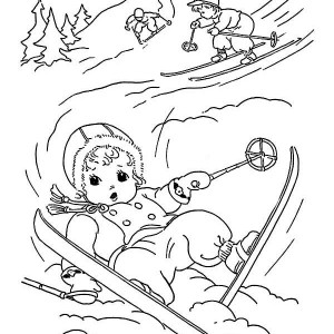 Cute Little Kid Slip Down While Skiing on Winter Coloring Page