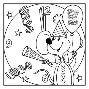 Cute Little Mouse Preparing for New Year Coloring Page