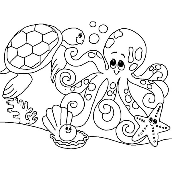 Cute Sea Animals Gathering Coloring Page Download Print Online
