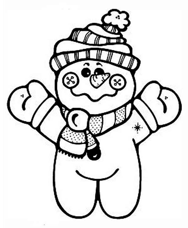 Cute Snowman Doll in Winter Outfit Coloring Page  Download
