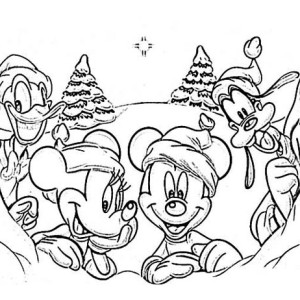 Disney Gang on Christmas Day Coloring Page