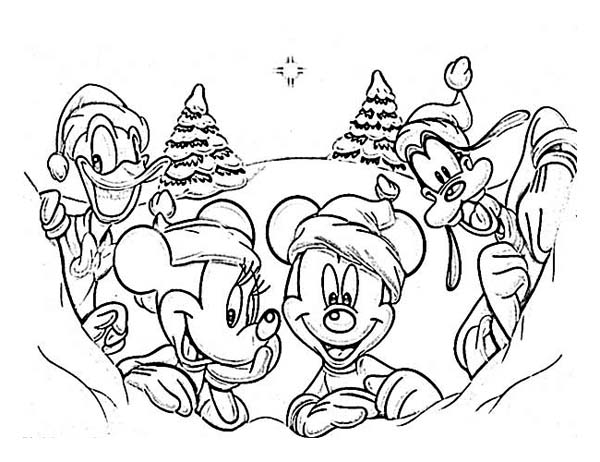 Christmas Disney Gang On Day Coloring Page