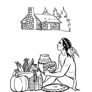 Doing Barter with Native American Thanksgiving Day Coloring Page
