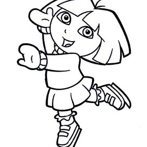 Dora Playing Ice Skates On Winter Coloring Page