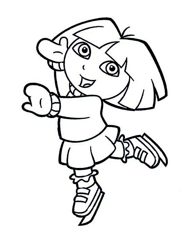 Dora Playing Ice Skates on Winter