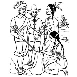 Early Pilgrim Plymouth Colony Thanksgiving Day History' Coloring Page