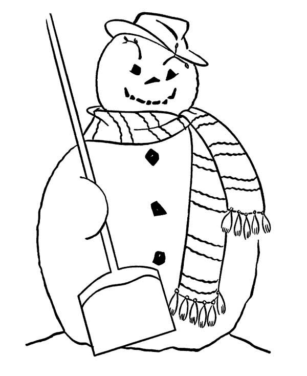 Fat Snowman with Broom and Long Scarf on Winter Coloring Page ...